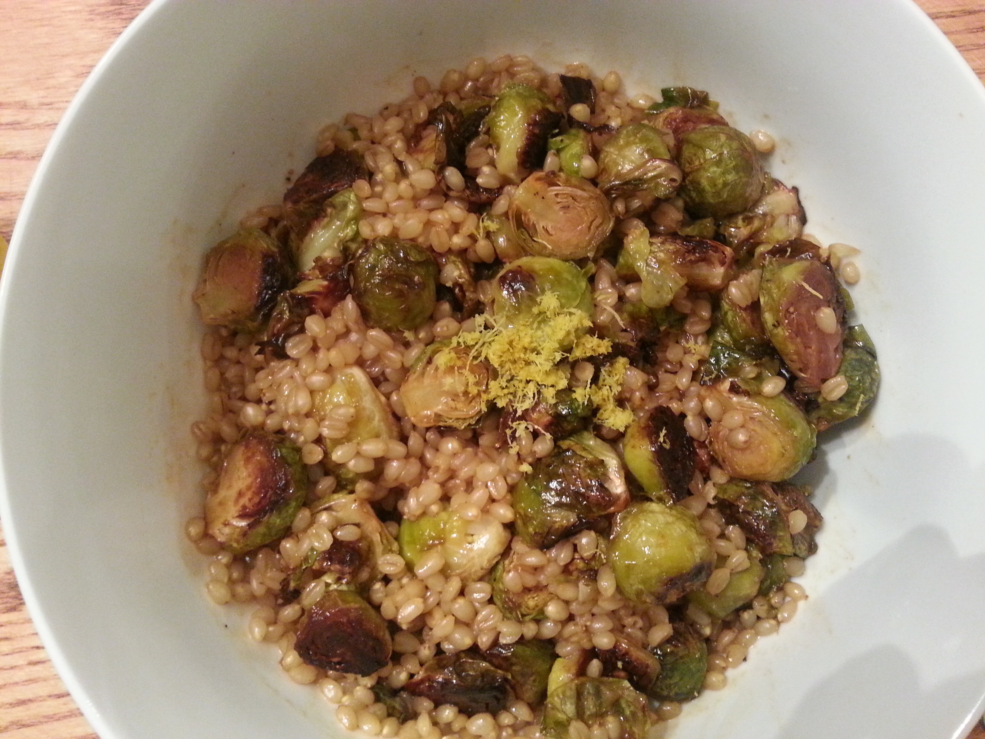 for my lemony roasted brussel sprouts i halve the brussels and pre ...