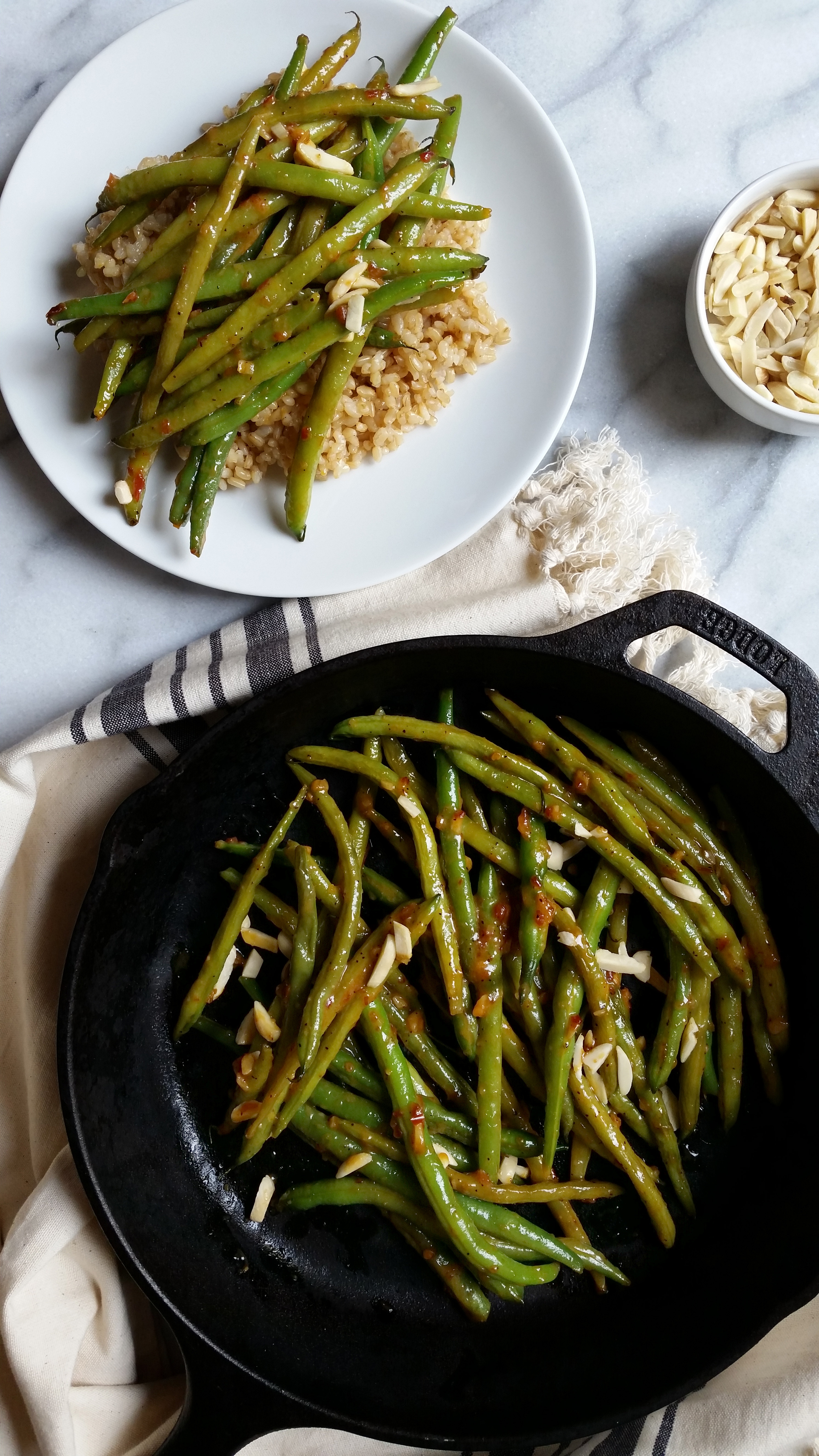 Green Beans With Miso And Almonds Recipe — Dishmaps