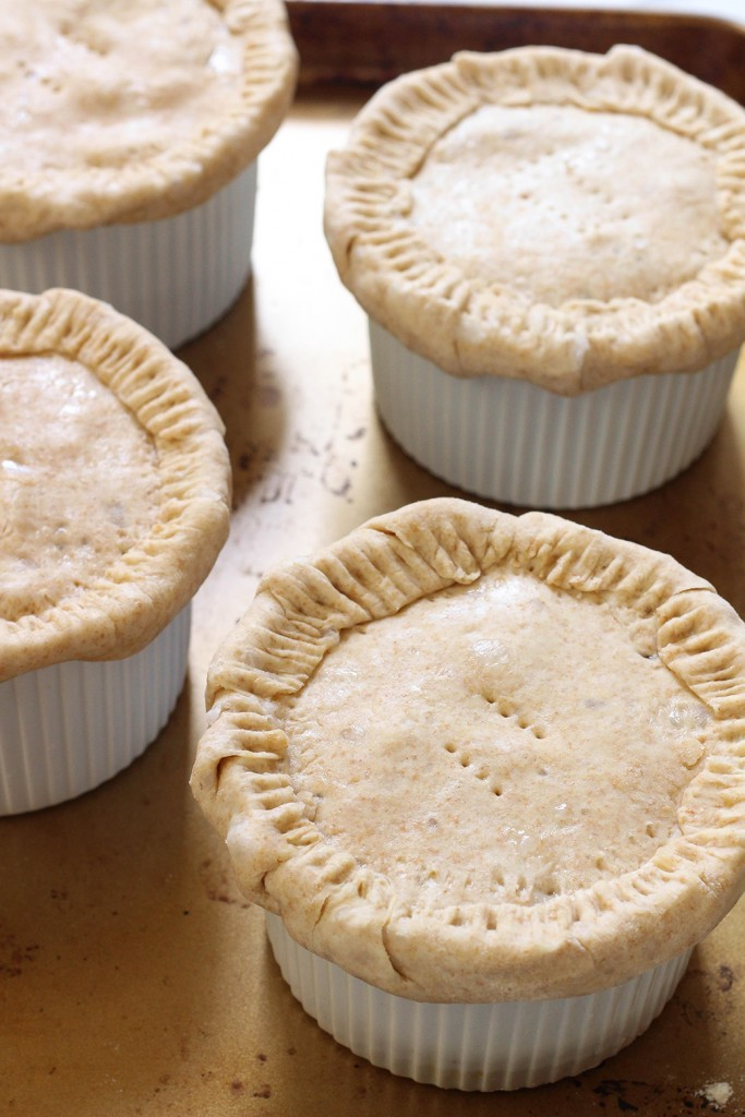 Veggie loaded vegan pot pies with a spelt coconut oil crust