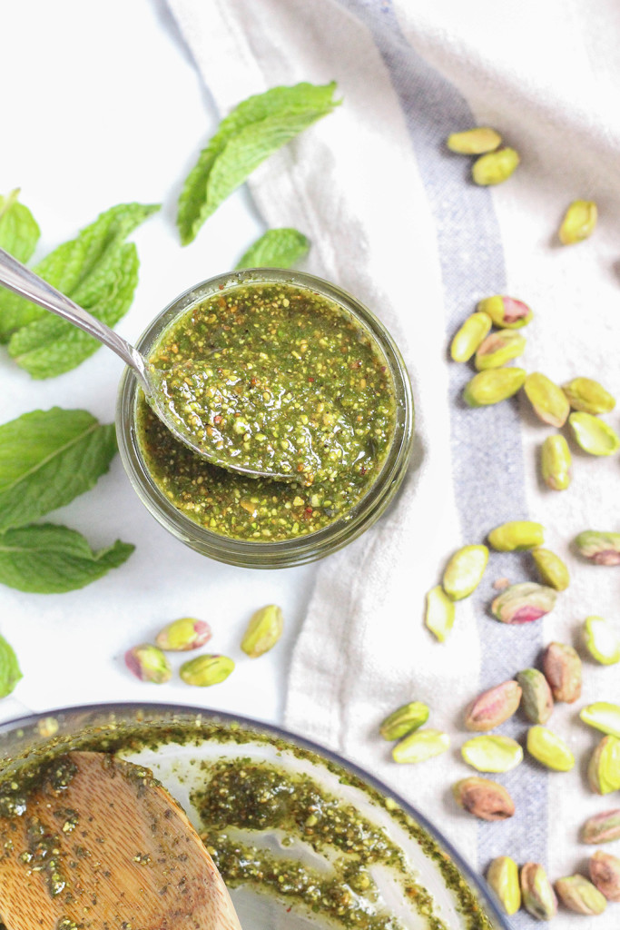 Roasted Pistachio Mint Pesto | The Mostly Vegan