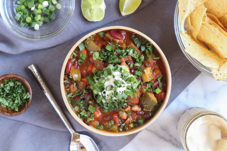 Crowd-pleasing Vegan Three Bean Chili