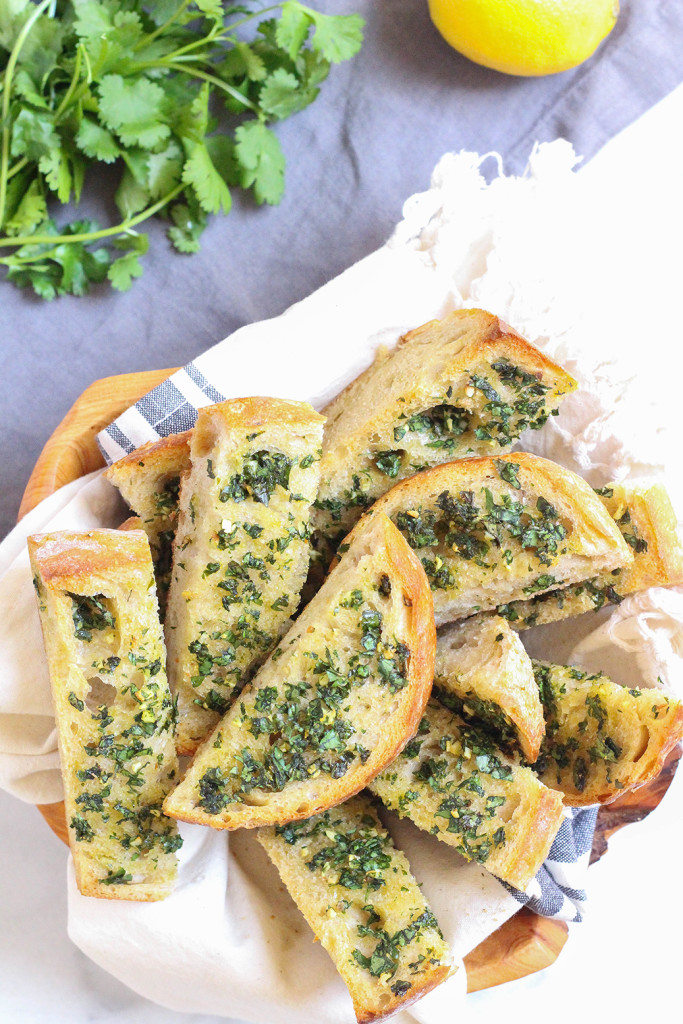 Gremolata Garlic Bread - a light and refreshing alternative to garlic bread that happens to be vegan.