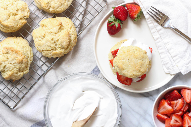Vegan strawberry shortcakes with coconut whipped cream