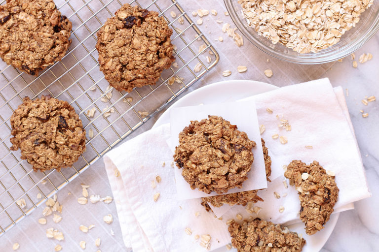 Delicious vegan trail mix breakfast cookies - gluten free, oil free, refined sugar free