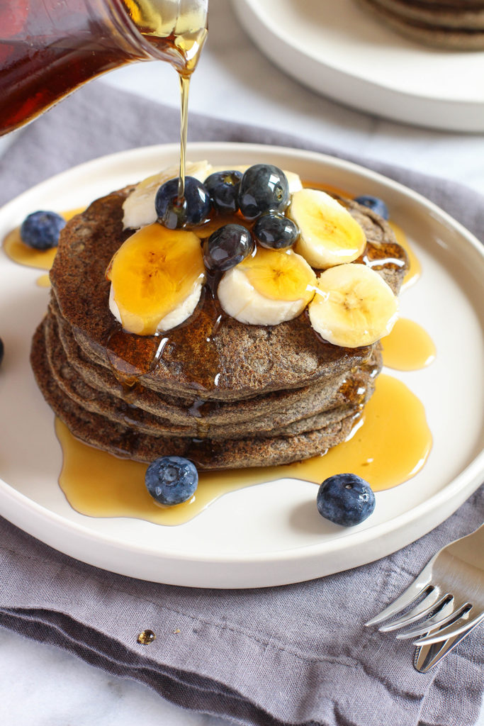 Vegan & gluten free buckwheat pancakes - so light and fluffy and full of nutty buckwheat flavor