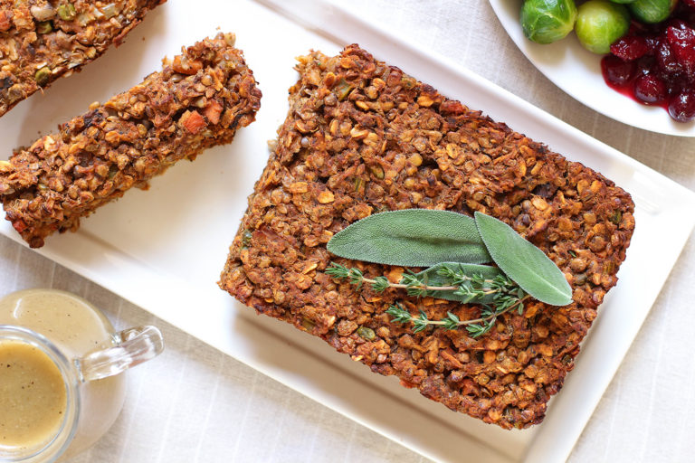 Vegan & gluten free lentil loaf with classic brown onion gravy