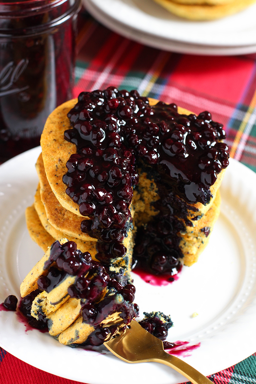Lemon Poppy Seed Cornmeal Pancakes with Blueberry Compote - vegan & gluten free
