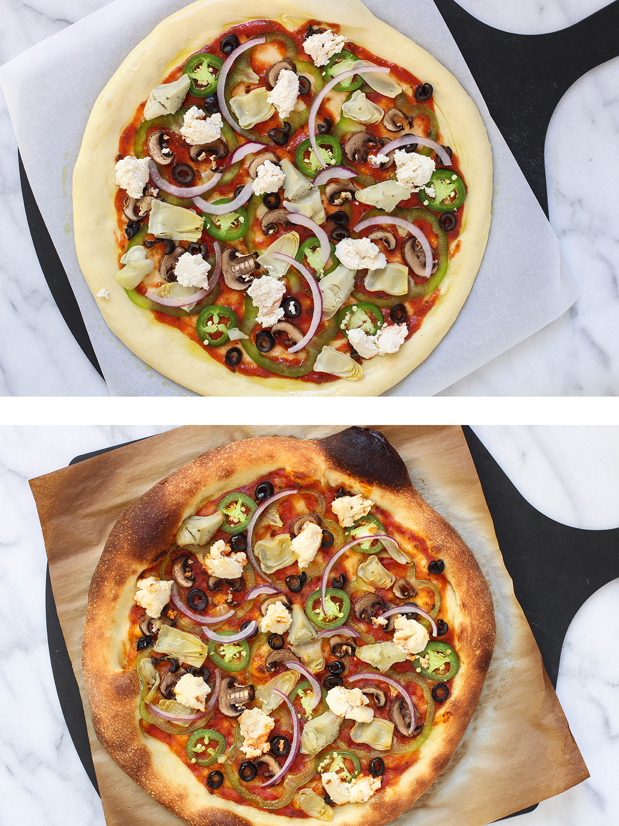 The Best Damn Homemade Pizza...Ever - the best dough, how to bake it, plus two toppings - Vegan Veggie Pizza and Vegetarian White Pizza with Potato & Asparagus