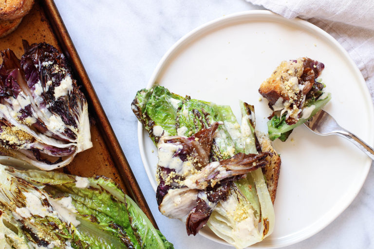 Vegan grilled Caesar with garlic tahini dressing