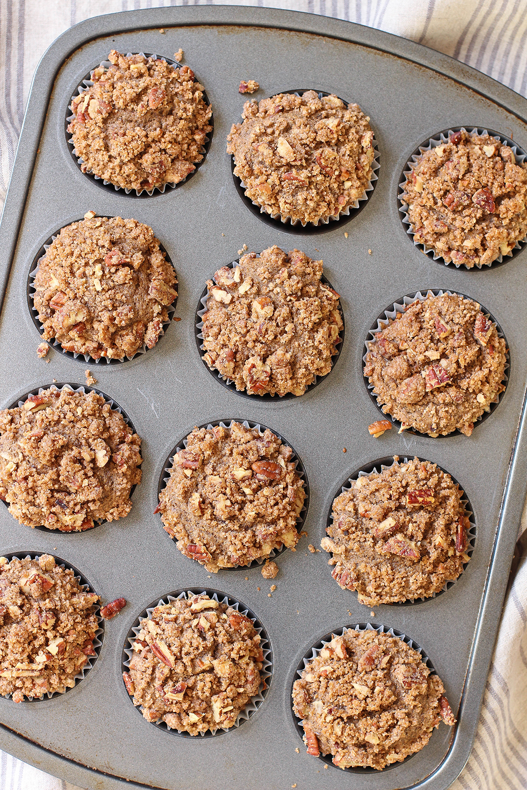 Vegan Cinnamon Pear Buckwheat Muffins with Pecan Streusel