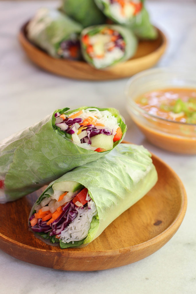 Veggie Spring Rolls With Spicy Peanut Dipping Sauce The Mostly Vegan